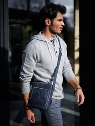 Skórzana torba męska na ramię always wild bag-3 granatowa - granat