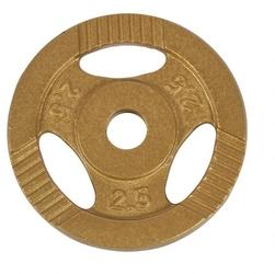 2,5 kg obciążenie żeliwne z uchwytem złote