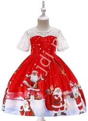 Czerwona sukienka dla dziewczynki z mikołajami, świąteczna sukienka dziecięca 41g