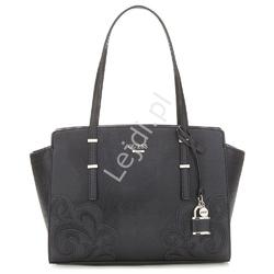 Elegancka torebka guess devyn w czarnym kolorze z aplikacjami