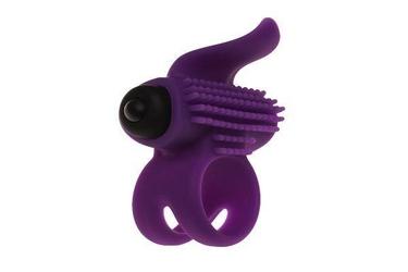 Silikonowy pierścień erekcyjny z wibracjami wypustki fioletowy | 100 dyskrecji | bezpieczne zakupy