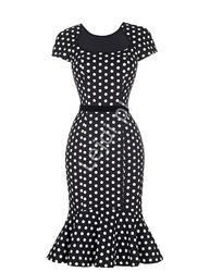 Czarna sukienka w kropki z falbaną na dole lata 50te, retro ciuchy