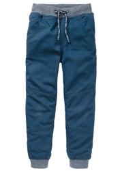 Spodnie ocieplane na podszewce z dżerseju bonprix ciemnoniebieski