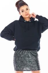 Spódniczka mini na gumce z cekinami - grafitowa