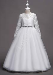 Biała długa sukienka na komunię zdobiona kryształkami 023