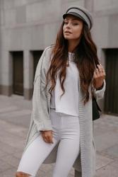 Niezapinany sweter damski z przeszyciami - jasnoszary