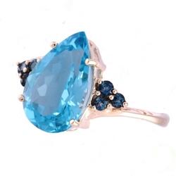 Ocean błękitu złoty pierścionek z niebieskim topazem 5,35 ct