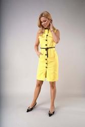 Letnia sukienka w stylu safari - żółta