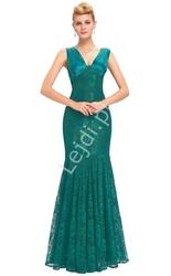 Szmaragdowa koronkowa suknia o kroju syreny na studniówkę, na wesele, na sylwestra 084