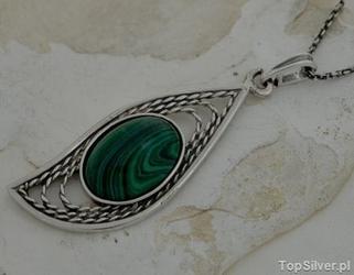 Pella - srebrny wisior z malachitem