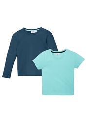 T-shirt dziewczęcy + shirt z długim rękawem 2 części bonprix morski pastelowy - ciemnoniebieski