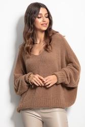 Milutki sweter oversize z dekoltem v - karmelowy