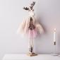 Dekoracja świąteczna  ozdoba pluszowa na boże narodzenie altom design łoś  renifer w różowej spódnicy i w futrze dziewczynka 50 cm stojąca