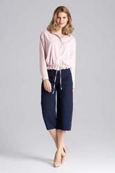 Granatowe eleganckie spodnie kuloty 78