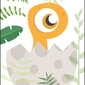 Akuku dino pomarańczowy - plakat wymiar do wyboru: 50x70 cm