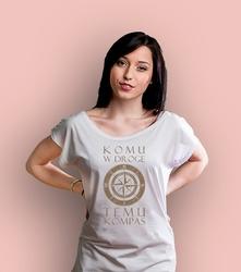 Komu w drogę temu kompas t-shirt damski biały xxl