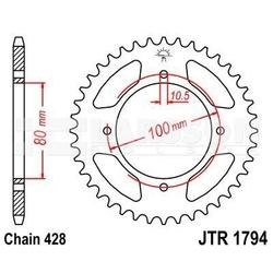Zębatka tylna stalowa jt 1794-45, 45z, rozmiar 428 2301179 suzuki gz 125