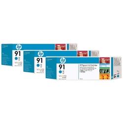 Hp 91 zestaw 3 wkładów atramentowych: błękitny 775 ml
