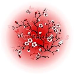 Obraz na płótnie canvas trzyczęściowy tryptyk kwiat wiśni przed słońcem