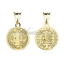 Srebrny pozłacany medalik pr.925 święty benedykt - żółte złoto