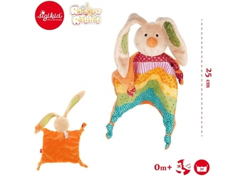 Tęczowy króliczek płaska przytulanka pierwszy przyjaciel