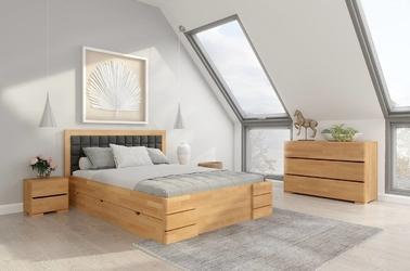 Tapicerowane łóżko drewniane - bukowe visby gotland high drawers z szufladami