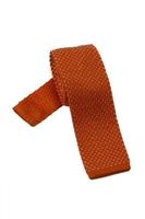 Pomarańczowy krawat knit hemley w białe kropeczki