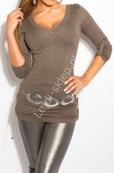 Dzianinowa bluzka  sweter z podwijanymi rękawkami, kawa z mlekiem 8011