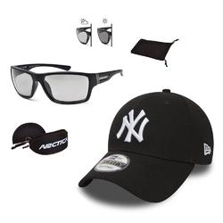Zestaw okulary przeciwsłoneczne arctica + czapka z daszkiem new era ny czarna - 32095