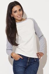 Dwubarwna bluzka z długim rękawem z płytkim dekoltem - szary