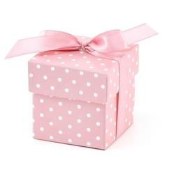 Pudełko w kropki 5,2x5,2 cm - różowe- 10 szt. - róż