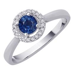 Staviori pierścionek. 16 diamentów, szlif brylantowy, masa 0,10 ct., barwa h, czystość si2. 1 szafir, masa 0,50 ct.. białe złoto 0,585. średnica korony ok. 6,5 mm.