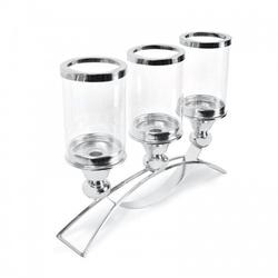 Lampion świecznik elegancki srebrny metal szkło