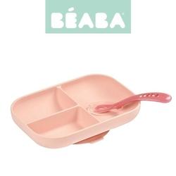 Komplet naczyń z silikonu trójdzielny talerz z przyssawką + łyżeczka - pink