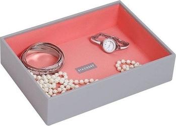 Szkatułka na biżuterię   stackers open classic szaro-koralowa