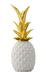 Dekoracja Ananas 2 Bloomingville złoto i biel