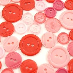 Kolorowe guziki 3 wielkości40 szt - różowo-czerwo - rócze