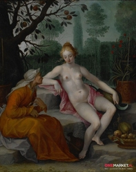 wertumnus i pomona - abraham bloemaert ; obraz - reprodukcja