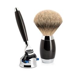 Muhle edition no. 1 ekskluzywny zestaw do golenia maszynka mach3 pędzel silvertip srebro i karbon