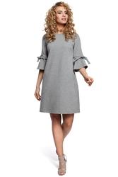 Sukienka mini fason a z falbanką na rękawach szara m286