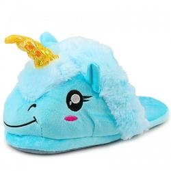 Kapcie pluszowe onesie jednorożec pantofle niebieskie