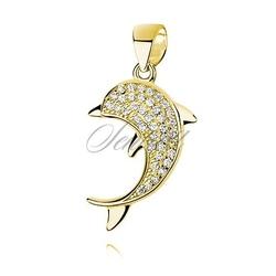 Srebrna zawieszka pr.925 pozłacany delfin z cyrkoniami - żółte złoto  biała