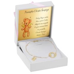 Złota bransoletka pr. 333 z aniołkami prezent na komunię z dedykacją