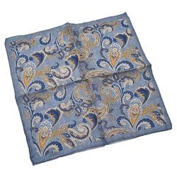 Lniana błękitna poszetka we wzór paisley