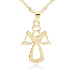 Złoty płaski medalik anioł pr. 585 chrzest komunia prezent z dedykacją - różowy