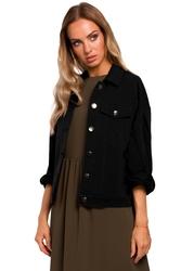 Lekka kurtka klasyczny fason jeansowej czarna m452