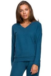 Dzianinowy sweterek z dekoltem v - morski
