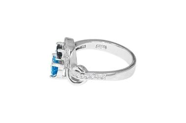 Srebrny pierścionek z topazem iolitem i cyrkonią
