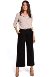 Czarne eleganckie spodnie kuloty w kant