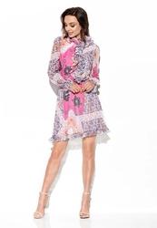Zwiewna wzorzysta sukienka z żabotem - druk 16